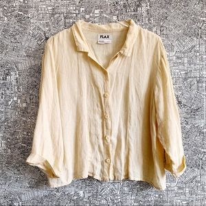 Flax Pale Yellow / Cream Cuffed Linen Button Down